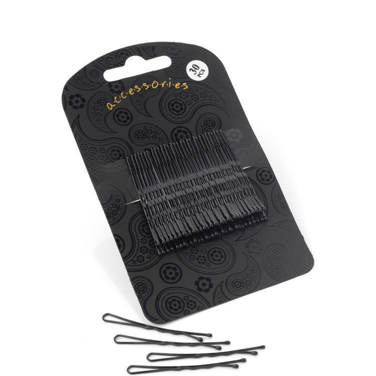 Thirty pieces black colour 5cm hair grip set