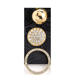 Three pair gold colour crystal ball & round earring set
