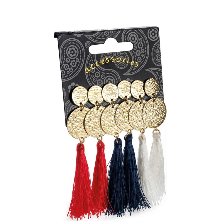 Three pairs gold colour red, navy & white tassel earring set