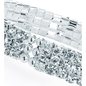 Three row silver colour cuff bangle