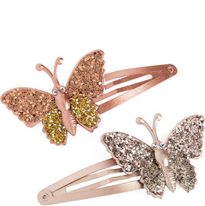 Two piece glitter effect butterfly design hair snap clip set