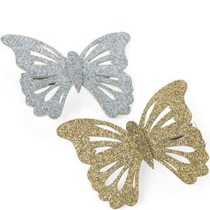 Two piece gold & silver colour glitter effect butterfly design hair clip set