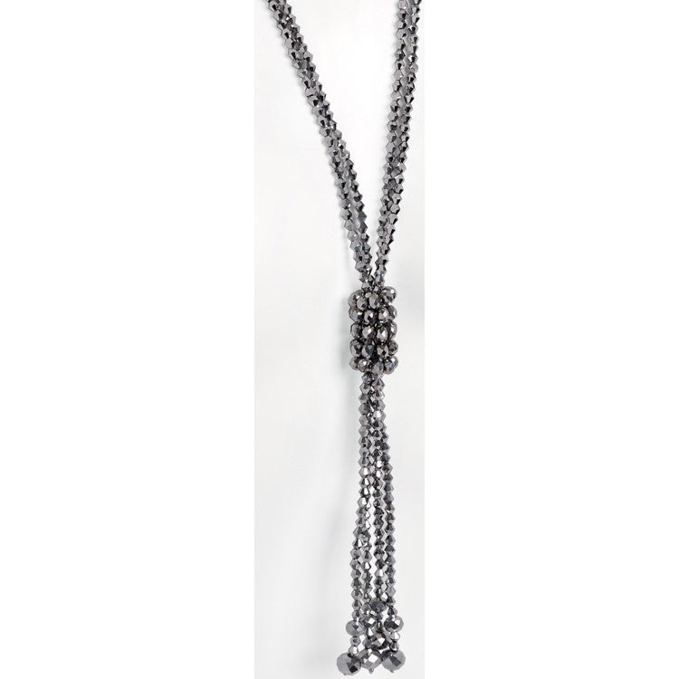 Two row silver colour glass bead tassel necklace
