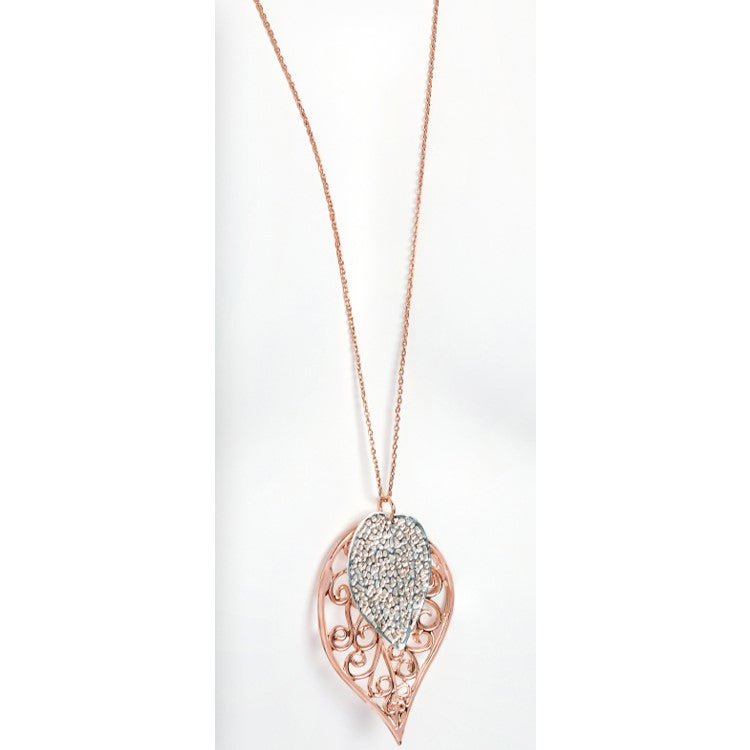 Two tone rose gold and silver colour leaf design chain necklace