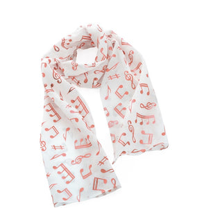 White & rose gold colour musical note scarf