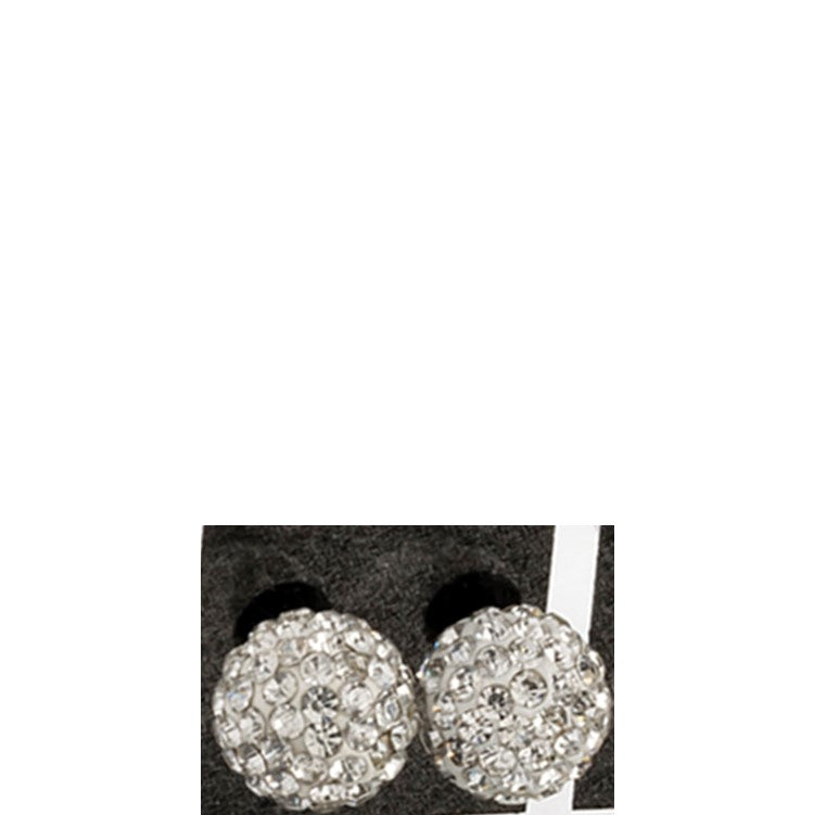 White crystal ball stud earrings one pair