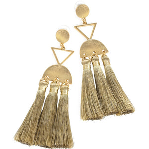 Worn gold and gold colour thread tassel drop earring