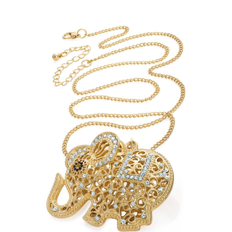Worn gold colour crystal elephant design chain necklace