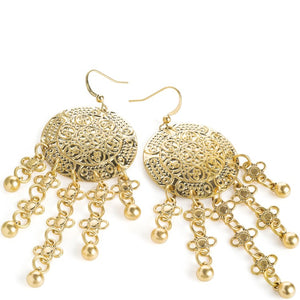 Worn gold colour ethnic design charm tassel earring