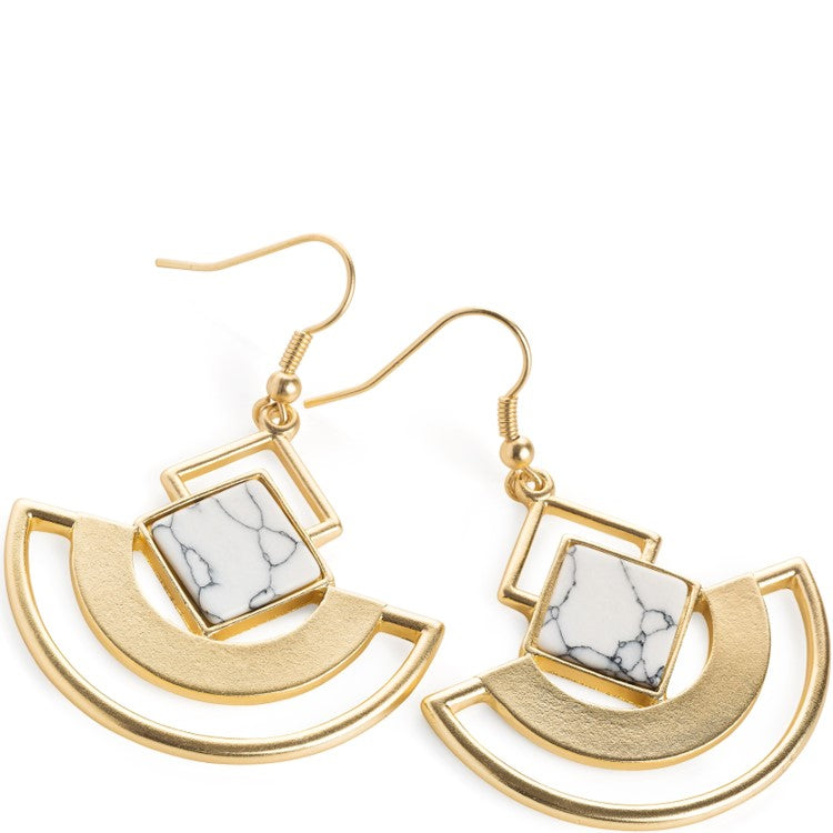 Worn gold colour white marble effect drop earring