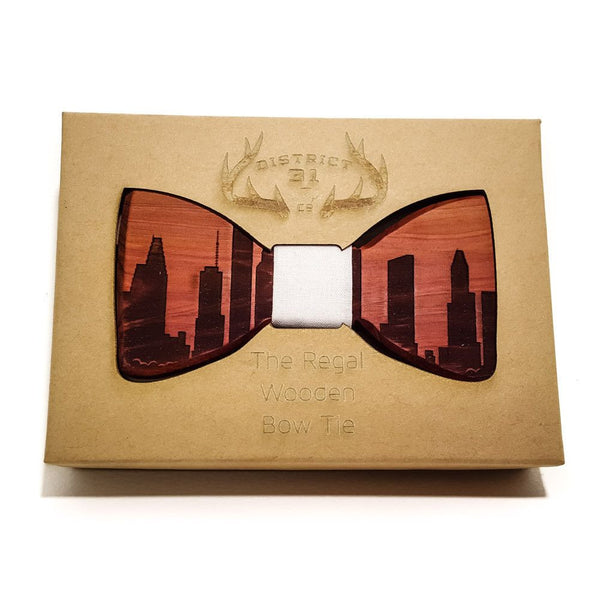 Bow Tie - The Regal Wooden Bow Tie - Indianapolis Skyline - Cedar / Grey - District 31 - 1