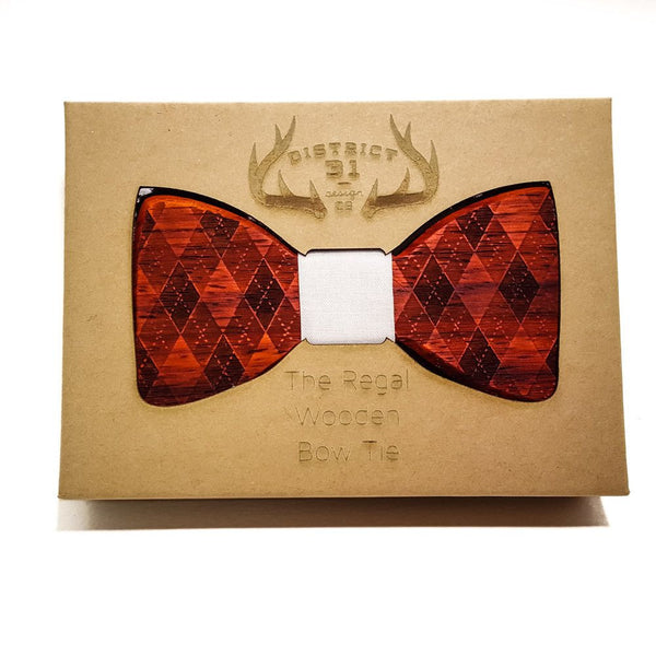 Bow Tie - The Regal Wooden Bow Tie - Argyle - Redheart / Grey - District 31 - 1