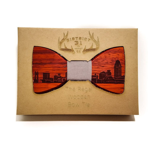 Bow Tie - The Regal Wooden Bow Tie - Cincinnati Skyline - Redheart / Grey - District 31 - 1