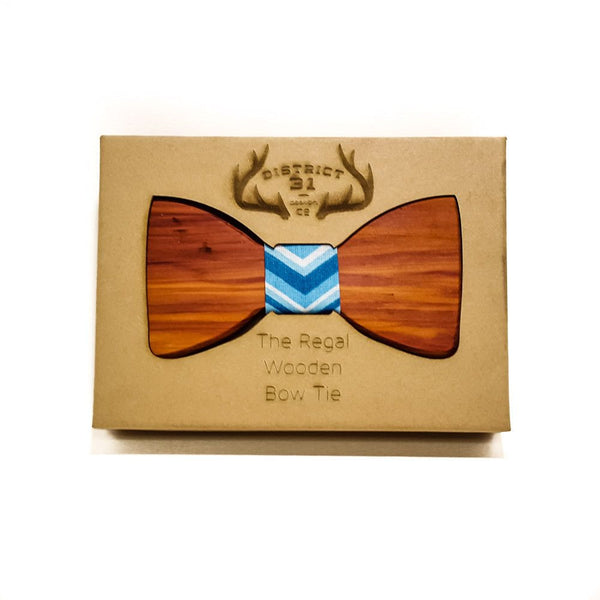 Customizable - Customize The Regal Wooden Bow Tie - Cedar / Grey - District 31 - 1