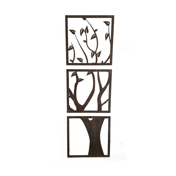 Wall Art - 3 Panel Wood Cut Tree Wall Hanging -  - District 31 - 3