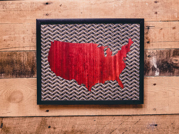 USA Wooden Map