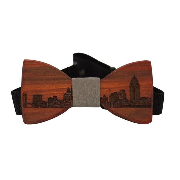 Customizable - Customize The Regal Wooden Bow Tie - Redheart / Grey - District 31 - 3