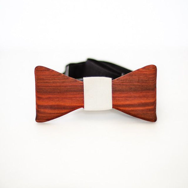 Bow Tie - The Slimline Wooden Bow Tie - Redheart / Grey - District 31 - 1