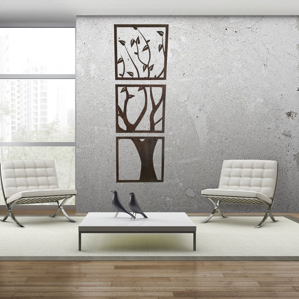 Wall Art - 3 Panel Wood Cut Tree Wall Hanging -  - District 31 - 4