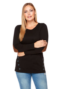 AMIEE Long Sleeve Elbow Patches Tee