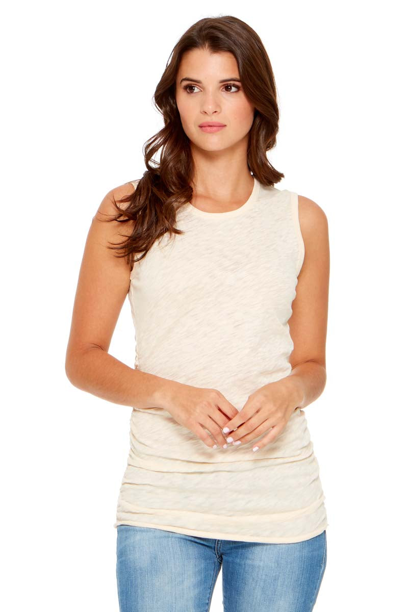 BELLA Gathered Side Tank Top