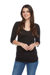 GIA Ruched Side V-Neck