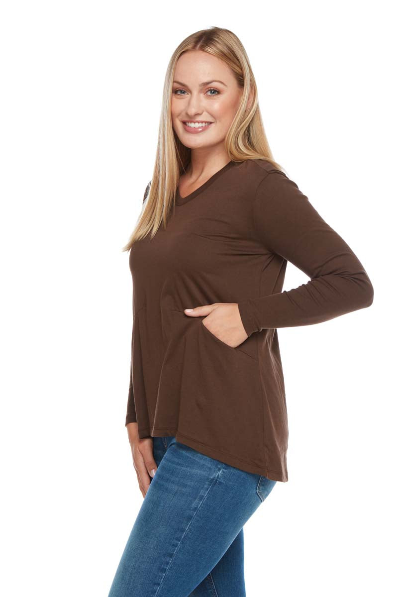 Grace Ribbed Long Sleeve V Neck