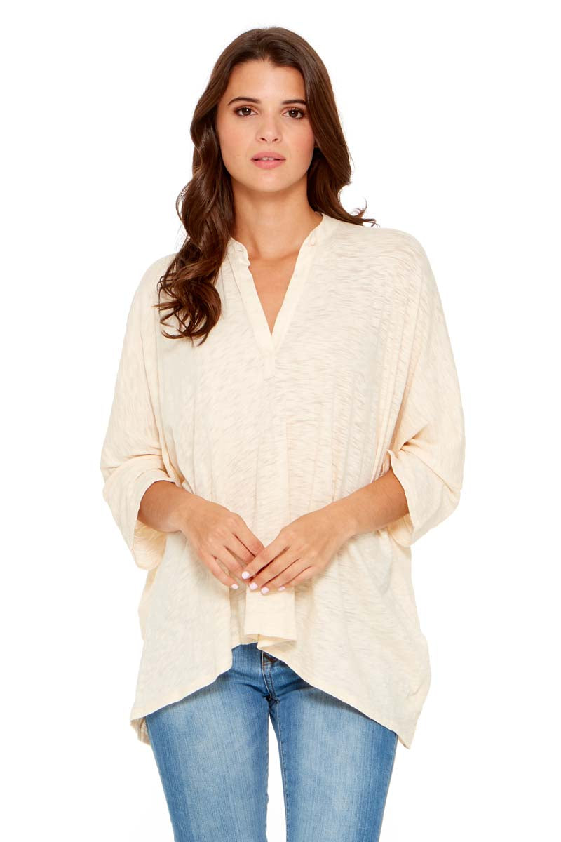 HALEY Oversized Split Neck Top