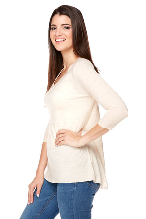 HELENA  V- Neck High Low Sweater Elbow Sleeves