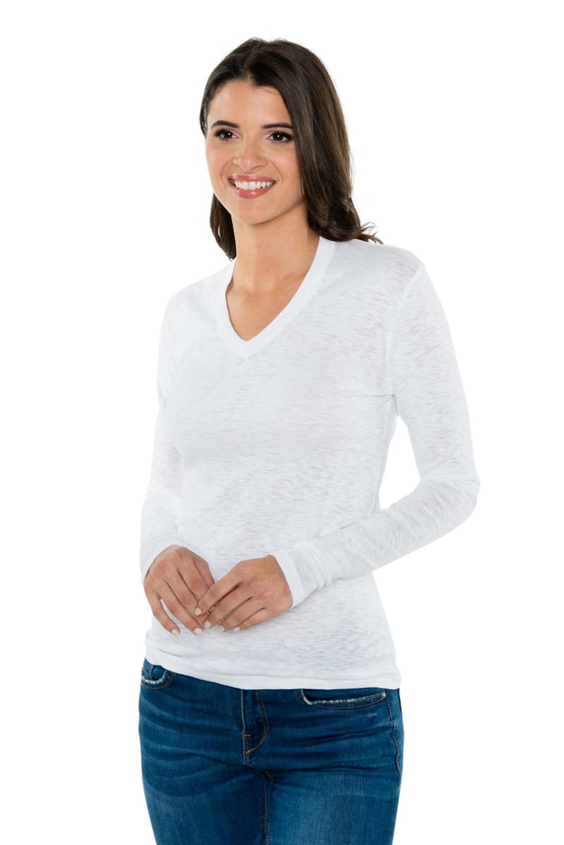 IVY Ribbed Long Sleeve V Neck Tee