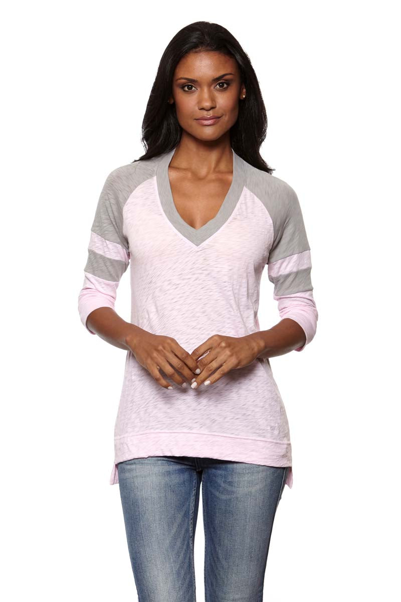 JULIE Color Block V-Neck Raglan
