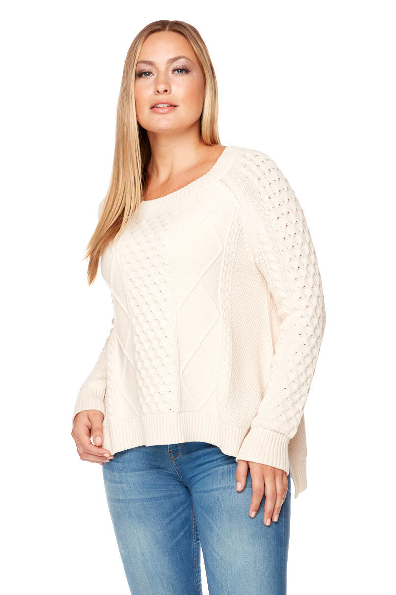 JAMIE Long Sleeve Cable Knit Sweater