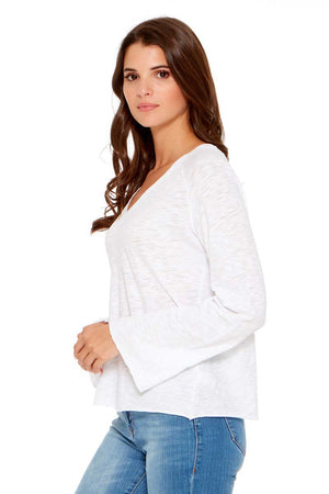 JOLIE Bell Sleeve Pima Cotton V Neck