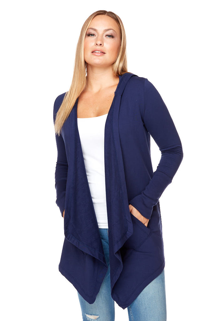 LESLIE Long Sleeve Two Pocket Hooded Cardigan