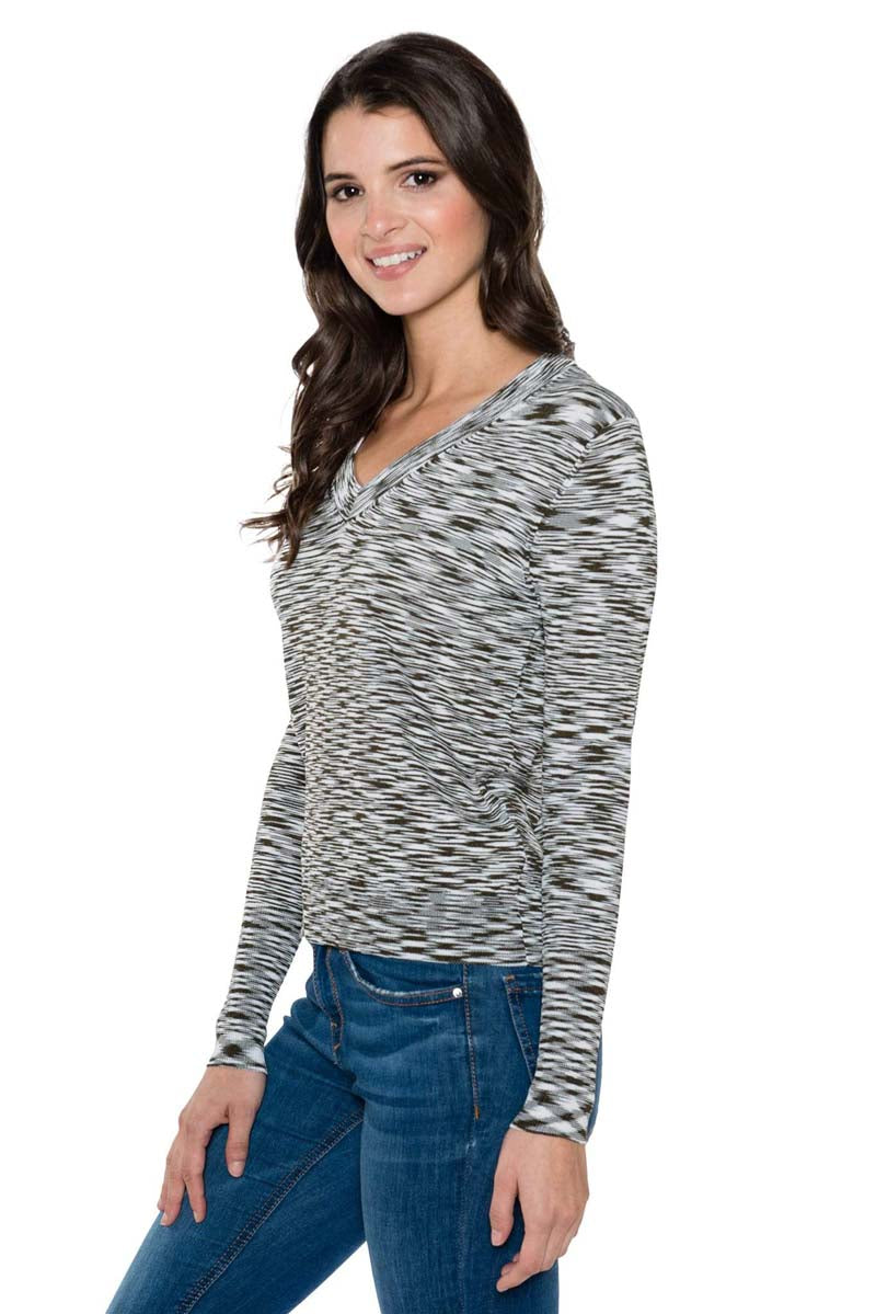 OLIVIA Long Sleeve Stripe V-Neck