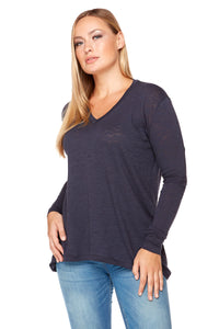 STELLA Long Sleeve V-Neck High Low Top