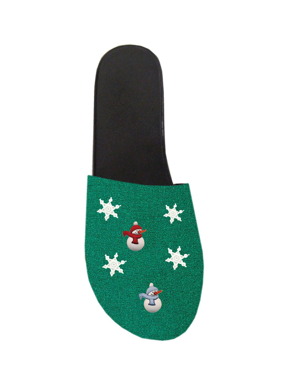 Ugly Sweater Clog Tops - Green Snowman