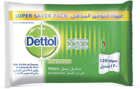 Dettol Antibacterial Wipes 120 Wipes
