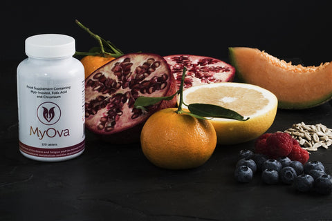 MyOva PCOS supplement with fuit and seeds