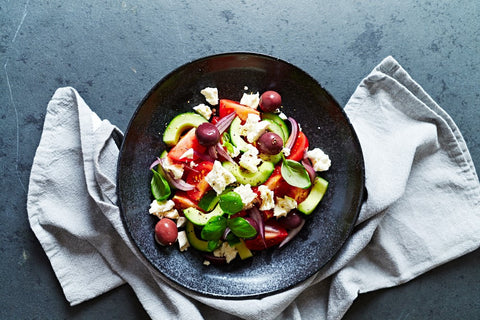 Summer Greek Salad PCOS recipe in a metal bowl