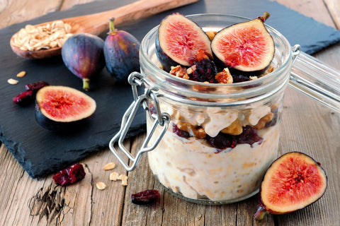 Overnight Oats with Figs, Cranberry's and Walnuts recipe in a glass jar