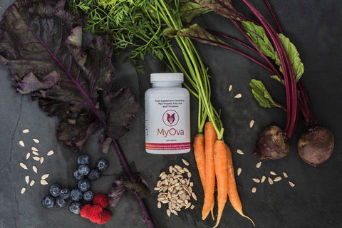MyOva supplement bottle with vegetables and seeds on slate