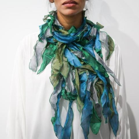 Greens Silk Leaf Scarf