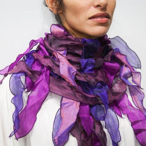 Purples Silk Leaf Scarf