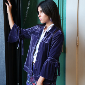 B. Mori Dark Purple Velvet Short Jacket