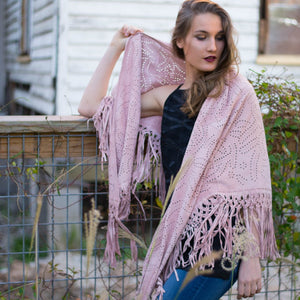 Hand Tooled Suede Shawl - Ballet Pink