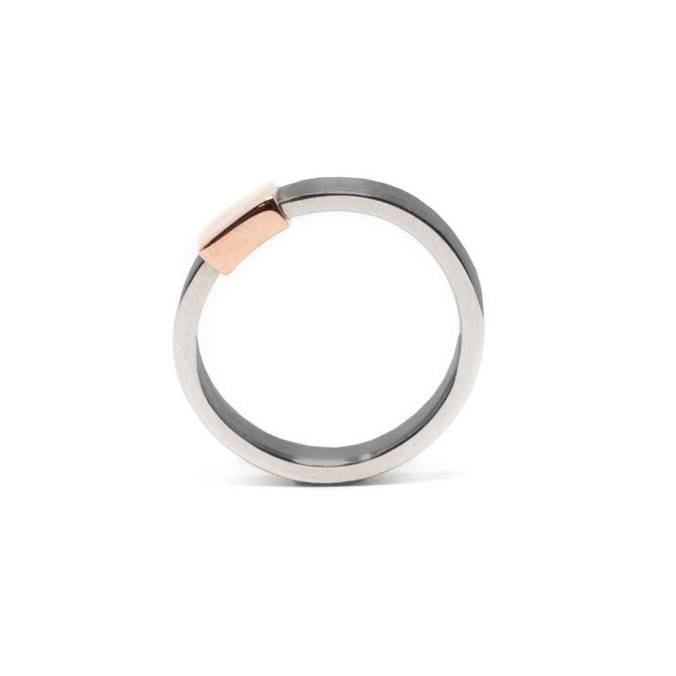 Women's Rose Gold Gunmetal Barrel Band
