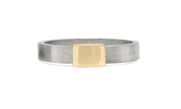 Women's Barrel Band with Yellow Gold