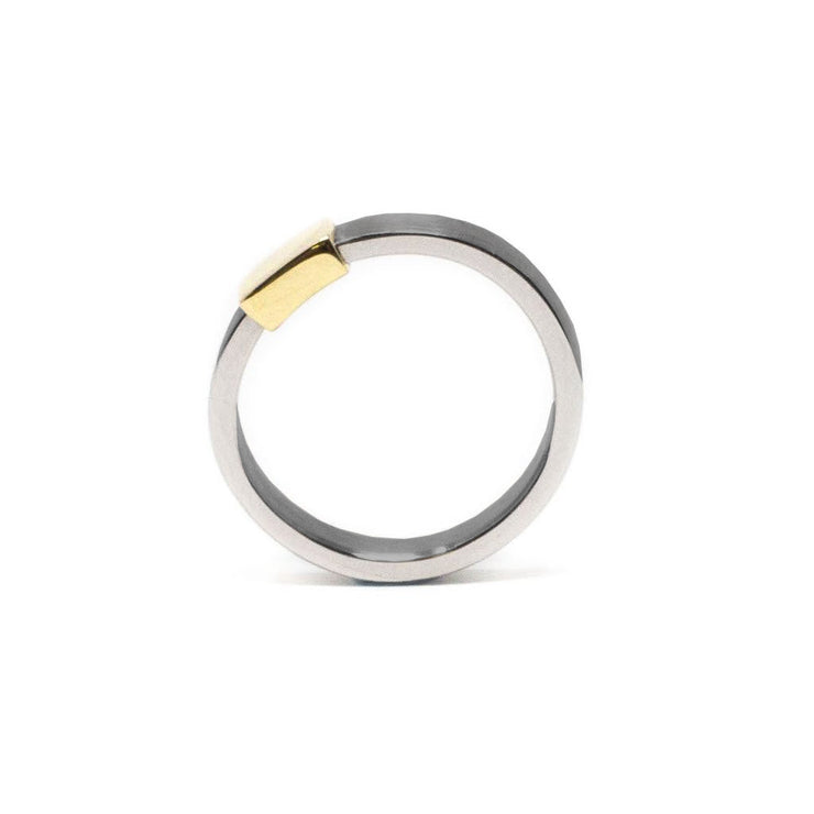 Women's Yellow Gold Gunmetal Barrel Band