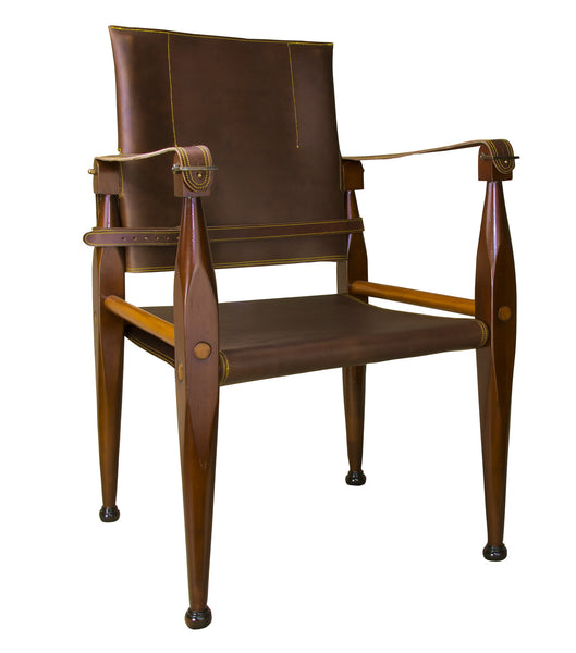 Astounding Authentic Models Bridle Leather Campaign Chair Mf122 Bralicious Painted Fabric Chair Ideas Braliciousco